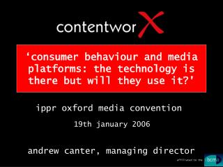 'consumer behaviour and media platforms: the technology is there but will they use it?'