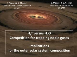 H 3 +  versus H 2 O  Competition for trapping noble gases