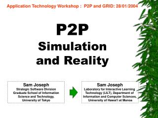 P2P  Simulation  and Reality