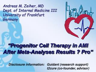 """Progenitor Cell Therapy in AMI After Meta-Analyses Results ? Pro"""