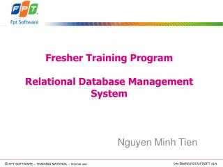 Fresher Training Program Relational Database Management System