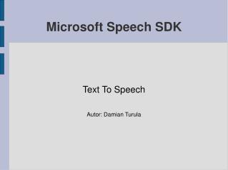 Microsoft Speech SDK