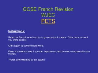 GCSE French Revision WJEC PETS