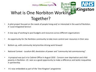What is One Norbiton Working Together?