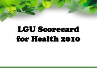 LGU Scorecard for Health 2010