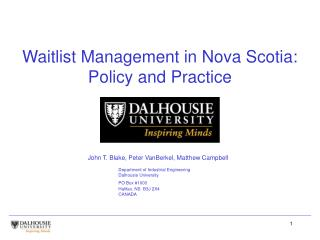 Waitlist Management in Nova Scotia: Policy and Practice