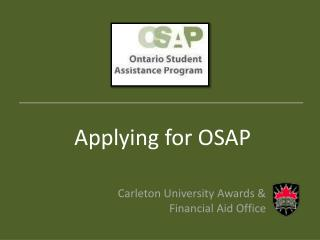 Applying for OSAP