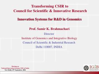 Innovation Systems for R&D in Genomics