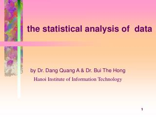 the statistical analysis of  data