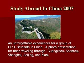 Study Abroad In China 2007