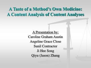 A Taste of a Method's Own Medicine: A Content Analysis of Content Analyses