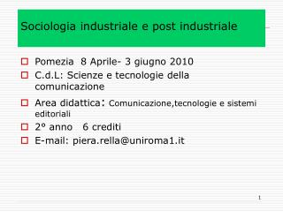 Sociologia industriale e post industriale