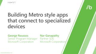 Building Metro style apps that connect to specialized devices