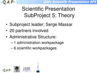 Scientific Presentation SubProject 5: Theory