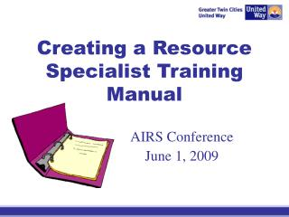 Creating a Resource Specialist Training Manual
