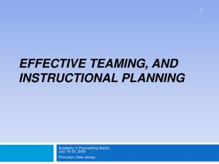 Effective Teaming, and  Instructional Planning