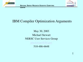 IBM Compiler Optimization Arguments
