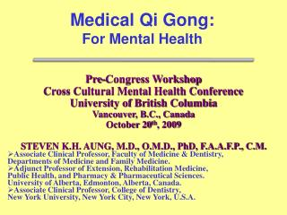 Pre-Congress Workshop Cross Cultural Mental Health Conference University of British Columbia