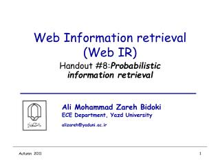 Web Information retrieval (Web IR)