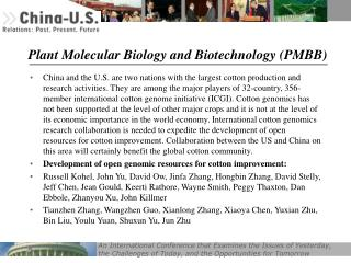 Plant Molecular Biology and Biotechnology (PMBB)