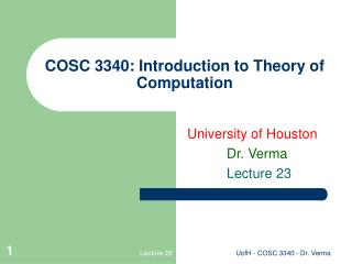 COSC 3340: Introduction to Theory of Computation