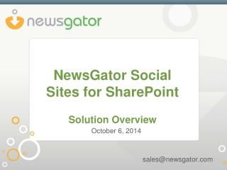 NewsGator Social Sites for SharePoint Solution Overview