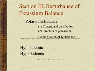 Section III.Disturbance of Potassium Balance