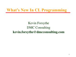 Kevin Forsythe DMC Consulting kevin.forsythe@dmcconsulting