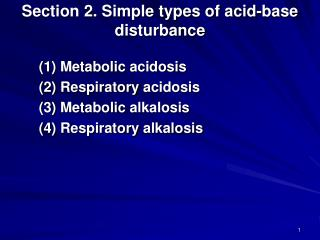 Section 2. Simple types of acid-base disturbance