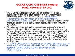 GODAE-OOPC OSSE/OSE meeting  Paris, November 5-7 2007