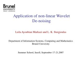 Application of non-linear Wavelet  De-noising