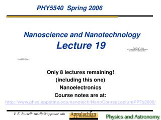 Nanoscience and Nanotechnology Lecture 19