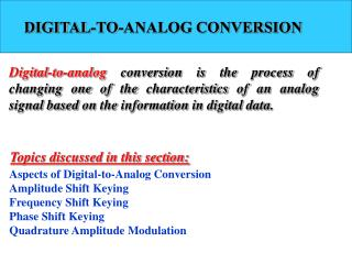 DIGITAL-TO-ANALOG CONVERSION