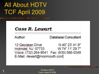 All About HDTV TCF April 2009