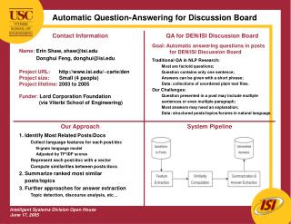 Automatic Question-Answering for Discussion Board