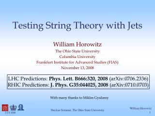 Testing String Theory with Jets