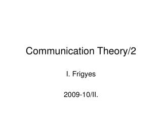 Communication Theory/2
