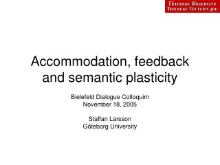 Accommodation, feedback and semantic plasticity