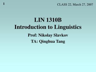 LIN 1310B Introduction to Linguistics