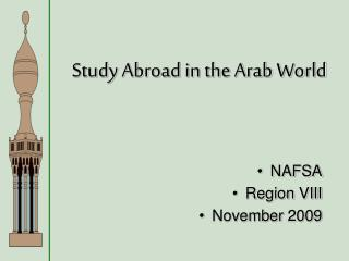 Study Abroad in the Arab World