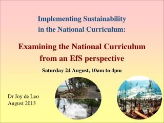 Implementing  Sustainability  in  the National  Curriculum: Examining the National Curriculum