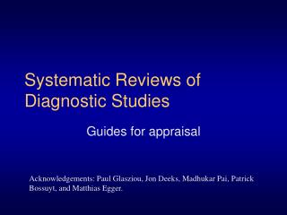 Systematic Reviews of Diagnostic Studies