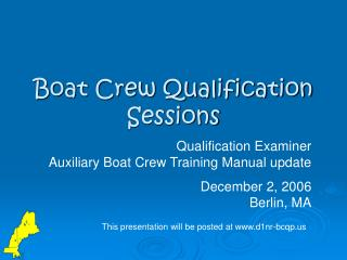 Boat Crew Qualification Sessions