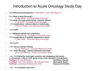 Introduction to Acute Oncology Study Day