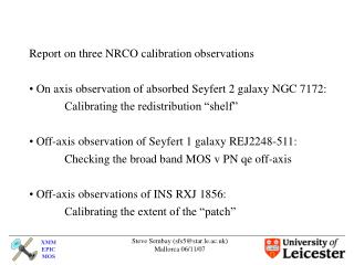 Report on three NRCO calibration observations