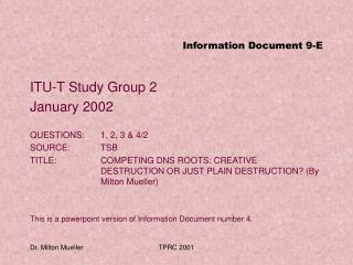 Information Document 9-E