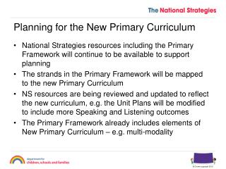 Planning for the New Primary Curriculum