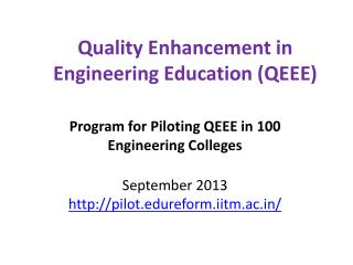 Quality Enhancement in Engineering Education (QEEE)