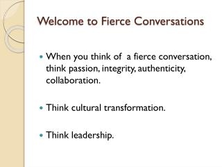 Welcome to Fierce Conversations