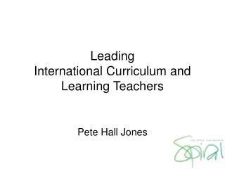 Leading International Curriculum and Learning Teachers